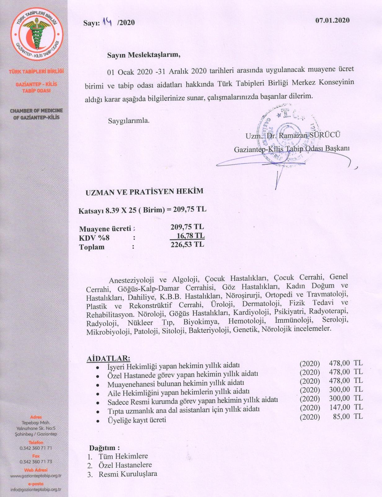 2019 Asgari Muayene Ücretleri
